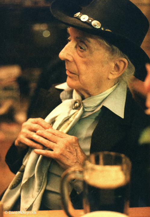 Quentin Crisp and David at a local restaurant, Jan. 1998.