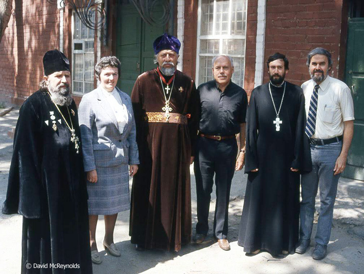 Tour leader and FOR staff member Richard Deats, right, with other tour members and Baku religious leaders.