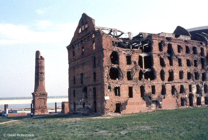 The ruins of the mill of Gerhardt, a national monument and reminder of the bombing by the Nazis of Stalingrad, now Volgograd.