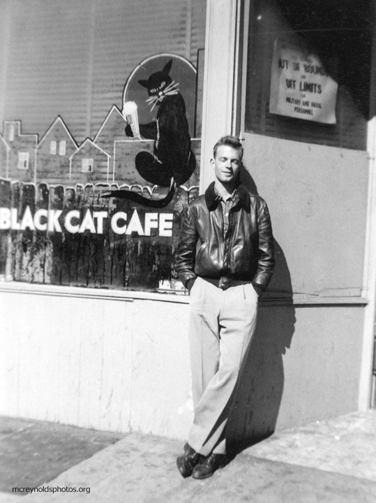 In San Francisco visiting his friend Alvin Ailey.  Photo by Alvin Ailey. Circa 1952 . The  Black Cat Cafe  was a popular bohemian/gay hangout.