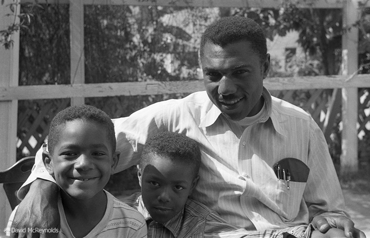 Wilson Riles and sons, July 1954. Riles (1917–1999) was an American educator and the first African American to be elected to statewide office in California. (54-12)