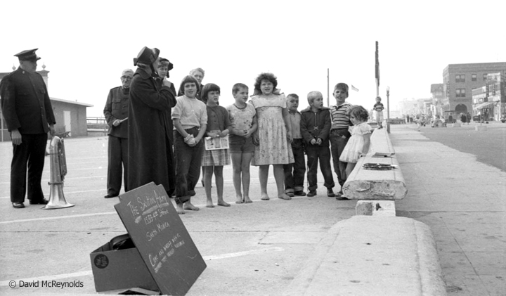 """""""Come and worship with us,"""" Santa Monica Salvation Army, October 1954. (54-16)"""