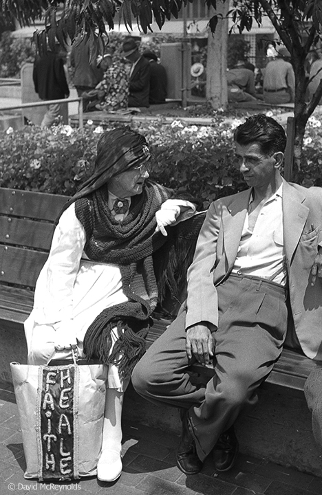 """Skeptic and """"Faith Healer,"""" Pershing Square, Los Angeles, August 1954. (54-15)"""