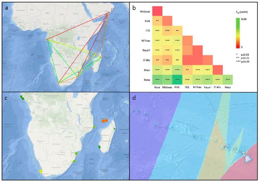 Four examples of geospatial genetic data layers and graphical analytics from case studies developed in SeaSketch: Genetic connectivity (a) and genetic diversity (c) of  humpback whales  off Africa; and pairwise (b) and interpolated (d) population differentiation of  spinner dolphins in Hawaii . Adapted from  IUCN-MMPATF  (2016).