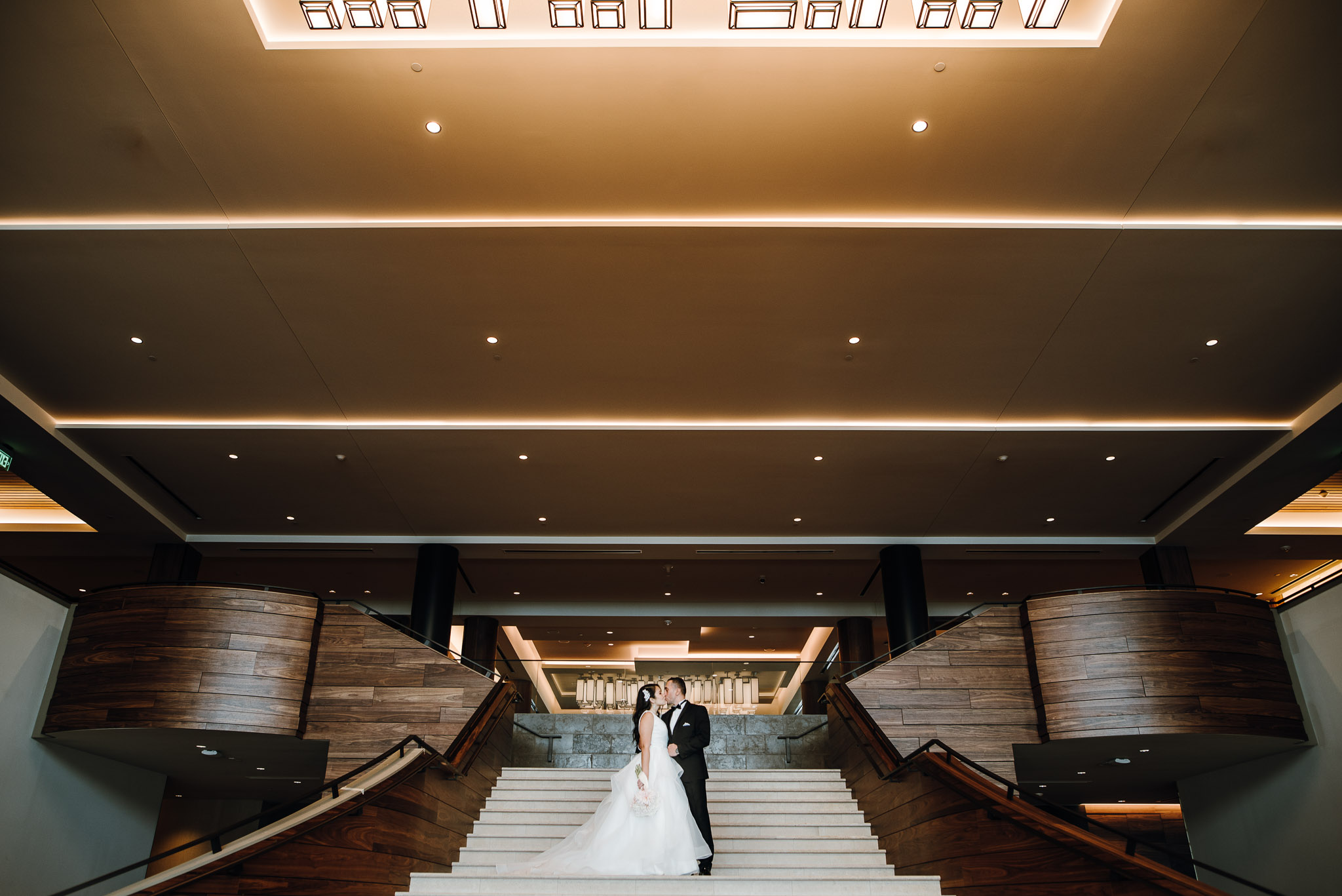 Bride and Groom enjoy a short break from the wedding day at the Hyatt Regency on Lake Washington