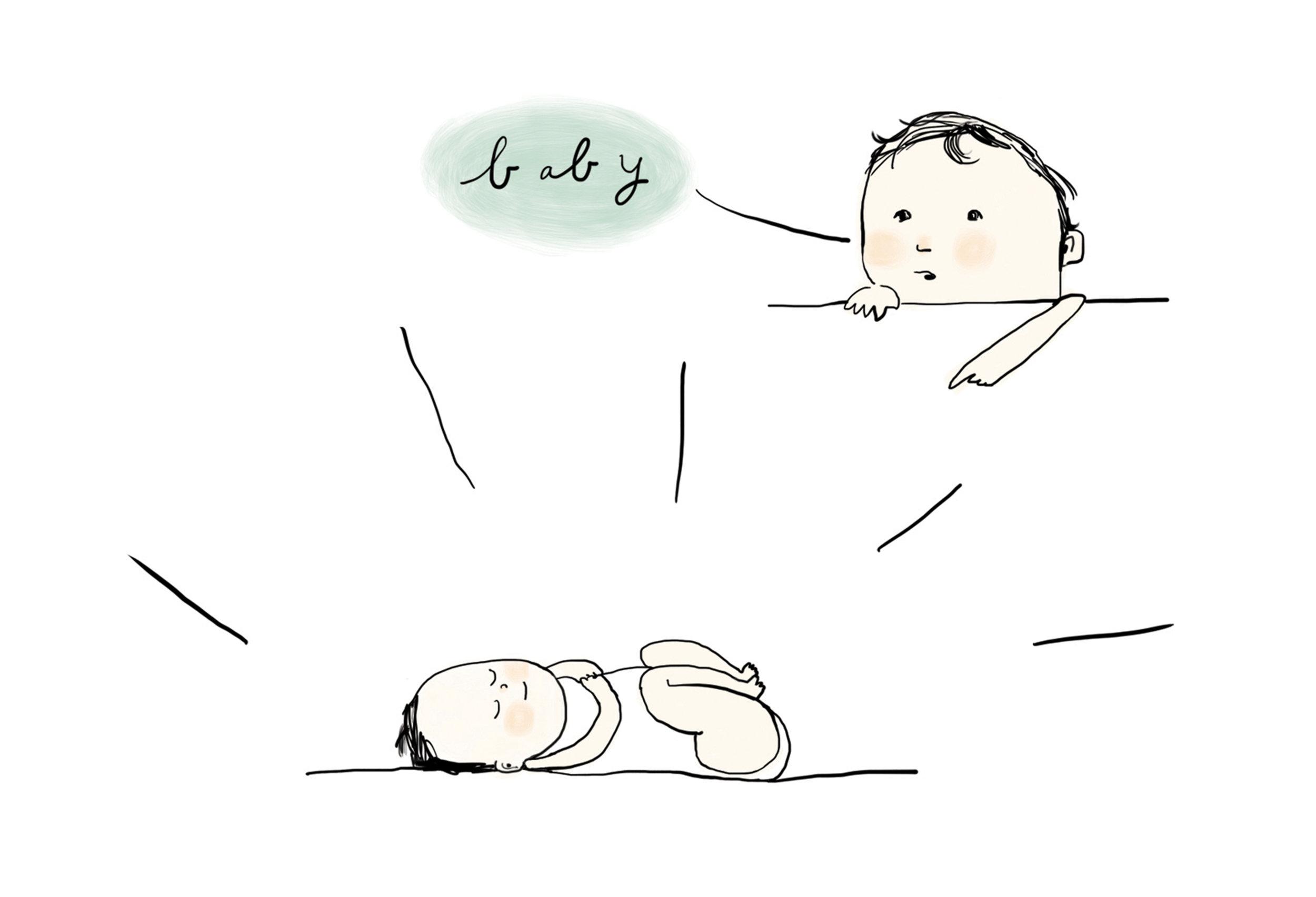 geboortekaart   | inkt op papier, digitaal bewerkt