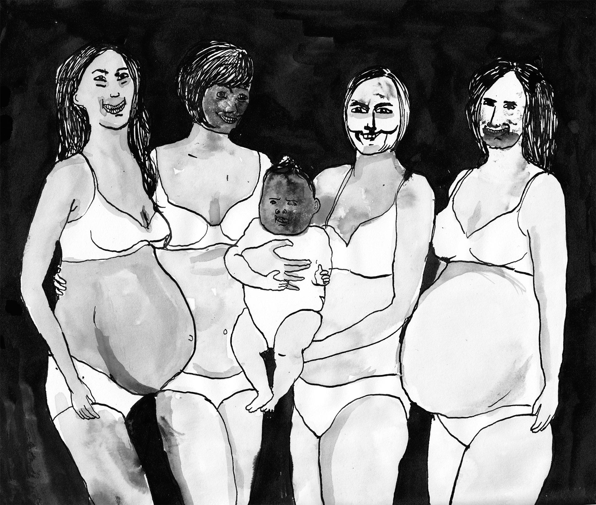 moeders  | inkt op papier