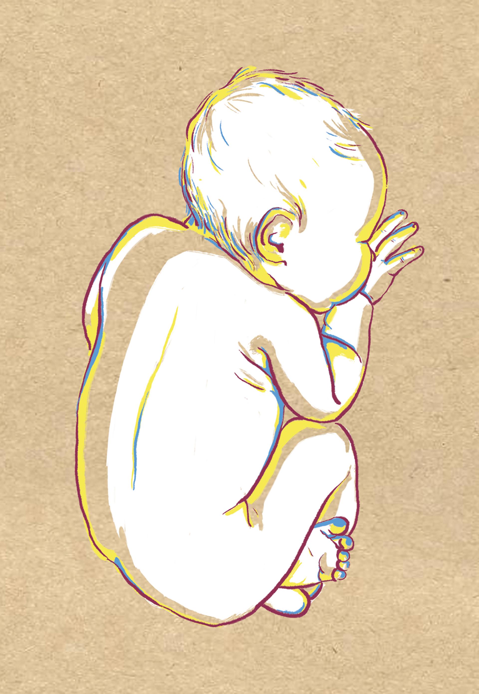 geboortekaart | digitale schets, risoprint