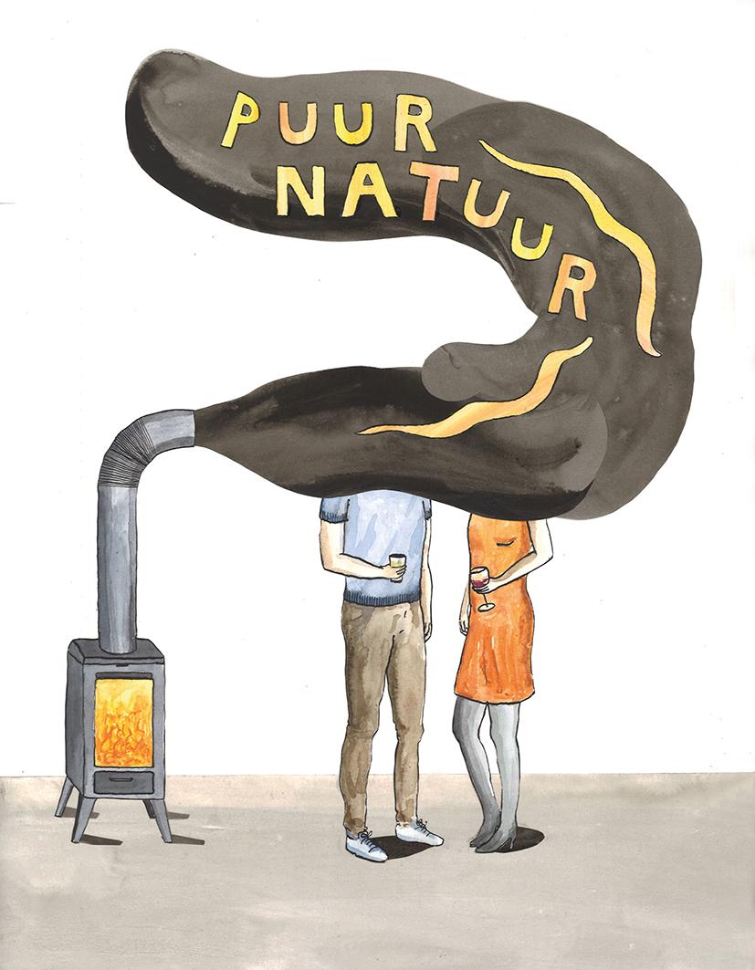 hoofd-illustratie bij artikel  De houtkachel onder vuur  |   inkt en waterverf, papiercollage