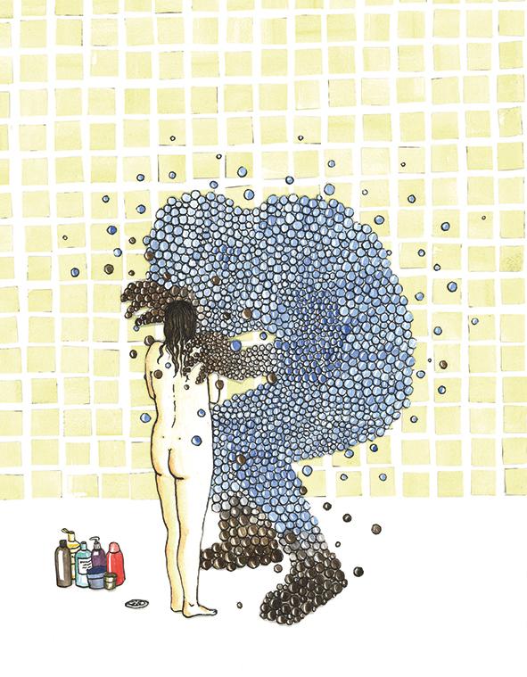hoofd-illustratie bij artikel  De schuimende waarheid  | inkt en waterverf, papiercollage
