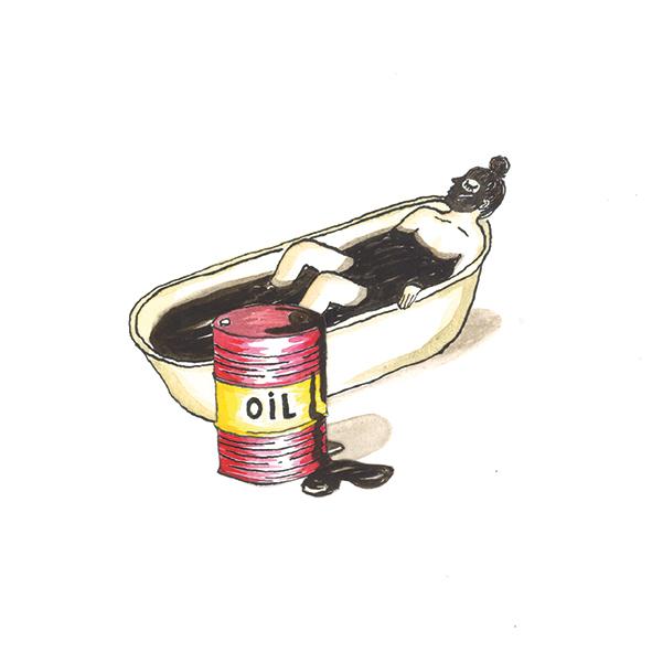 side-illustratie bij artikel  De schuimende waarheid  | inkt en waterverf, papiercollage