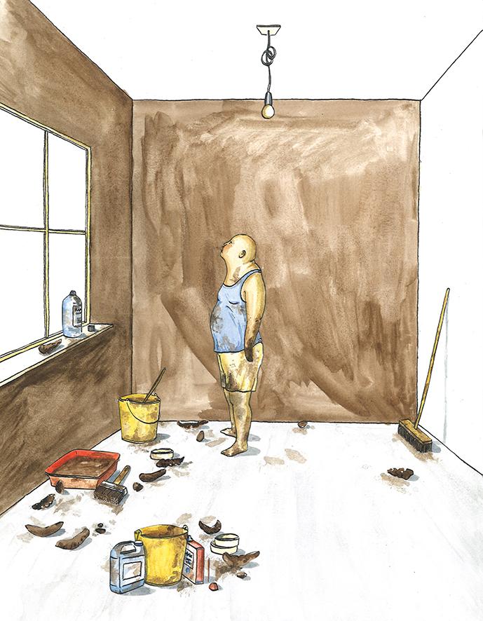 hoofd-illustratie bij artikel  Latex, leemverf, lijnolie: één pot nat?  | inkt en waterverf, papiercollage