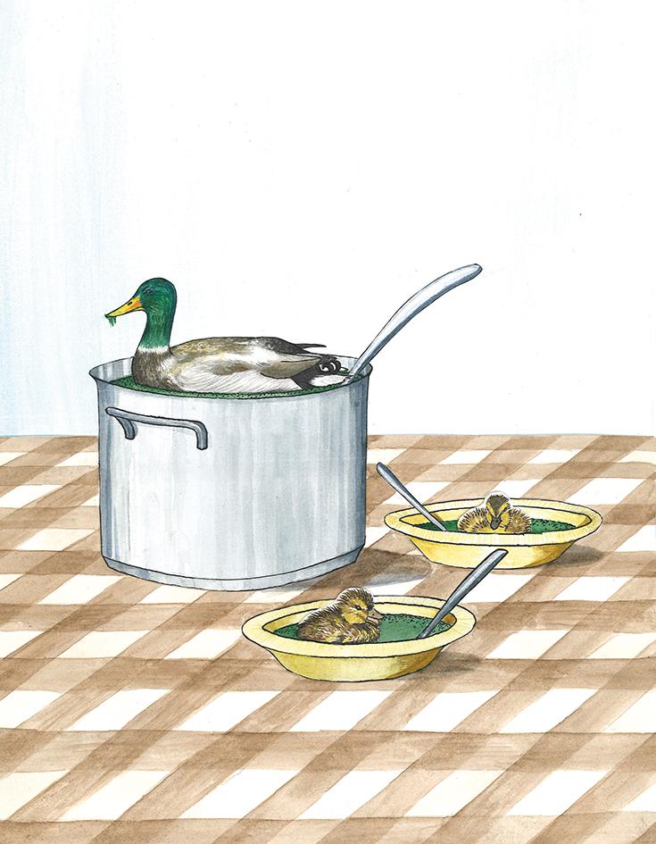 illustratie bij artikel  De verborgen kracht van slootsmurrie  | inkt en waterverf, papiercollage