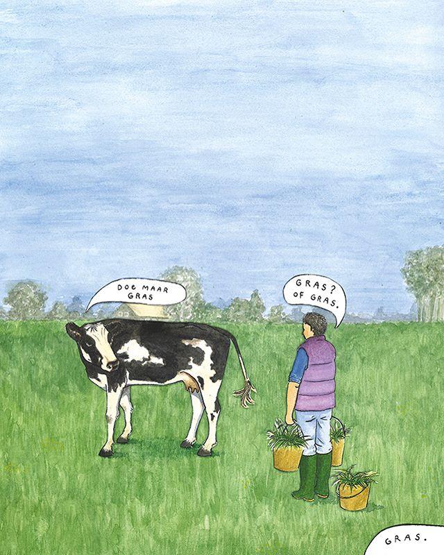 Illustraties ONEworldmagazine bij artikel 'Het einde van de turbokoe' #oneworldnl #hansariens #manonstravens #gras #koe #dierlijkeiwitten #kringlooplandbouw #bio