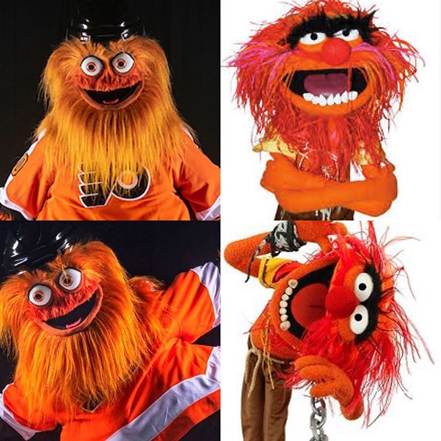 In other news today. The Flyers revealed their new mascot Gritty. You tell me if Gritty and Animal from the Muppets are related. Why?!?! Your thoughts on the Flyers new mascot? •🤔•👹• •👍if you approve •👎if you will have nightmares #yikes #grittythemascot #hockey #icehockey #nhl #nhlmascots #frostbitefaceoff #frostbitefaceoff2019 #muppets #gritty #philadelphiaflyers #flyers