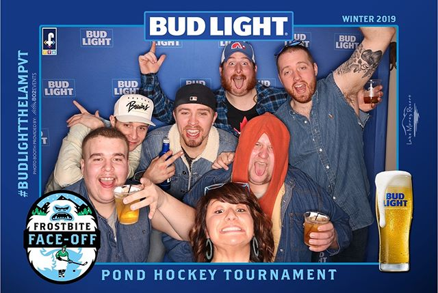 Who let these savages into a photobooth??🥳 Use #budlightthelampvt get a buttload of likes and win $$100$$ Amazon gift card • • • #pondhockey #hockey #budlight #budweiser #frostbitefaceoff #frostbitefaceoff2019 #vermont #outdoorhockey #beerleague #beer #photobooth #dillydilly #candadiantuxedo #lakemorey #vermonthockey
