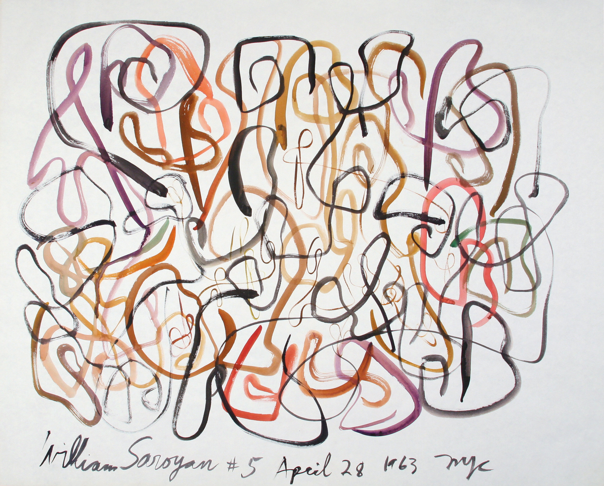 "William Saroyan #5 April 28, 1963 NYC  27.25"" x 34"" Watercolor on paper $11,000"