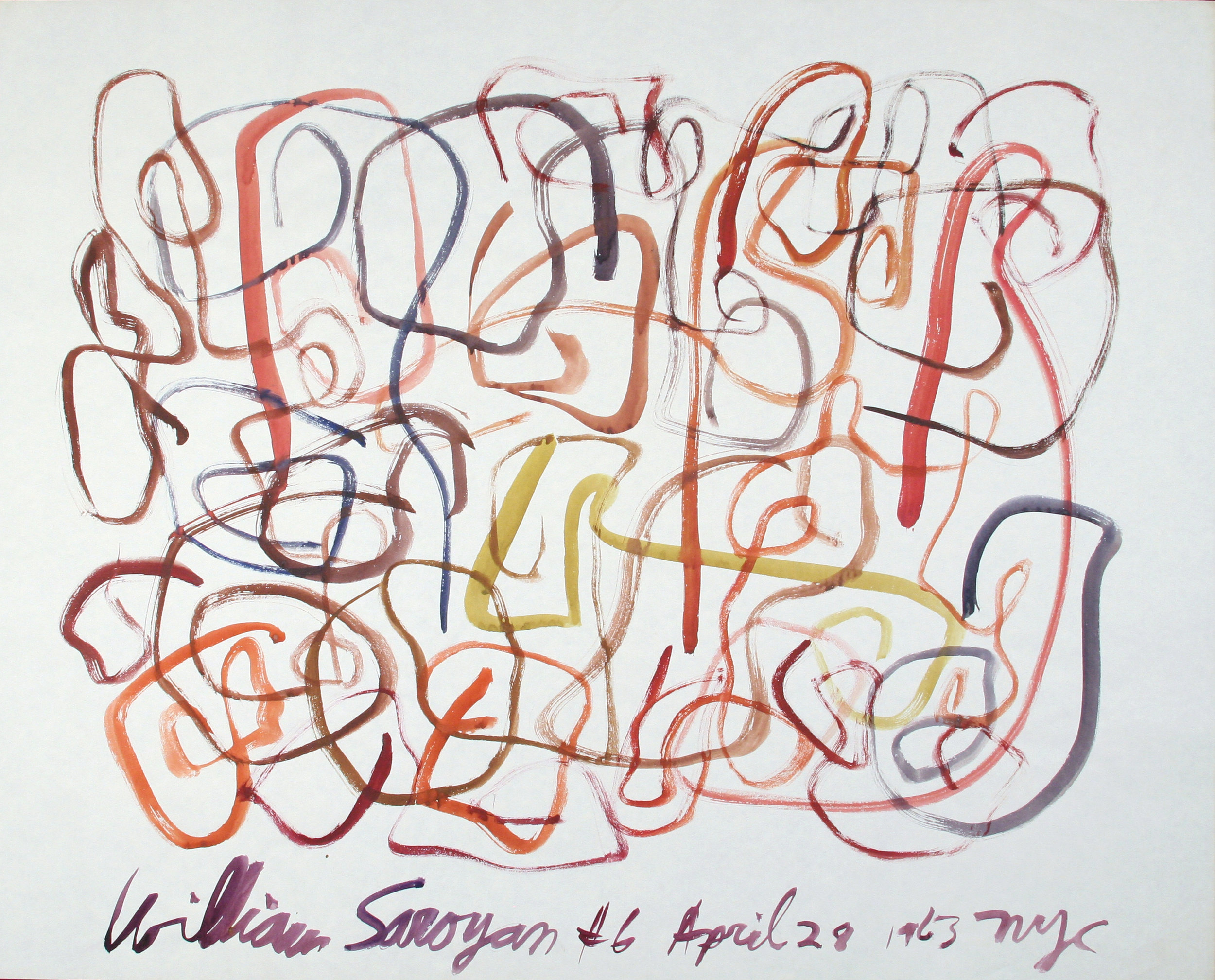 "William Saroyan #6 April 28, 1963 NYC  27.25"" x 34"" Watercolor on paper $11,000"