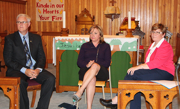 Mayoral candidates at first debate held in early september at st paul's anglican church. From left to right: sean cameron, irene macleod, and laurie boucher. Photo: the casket.