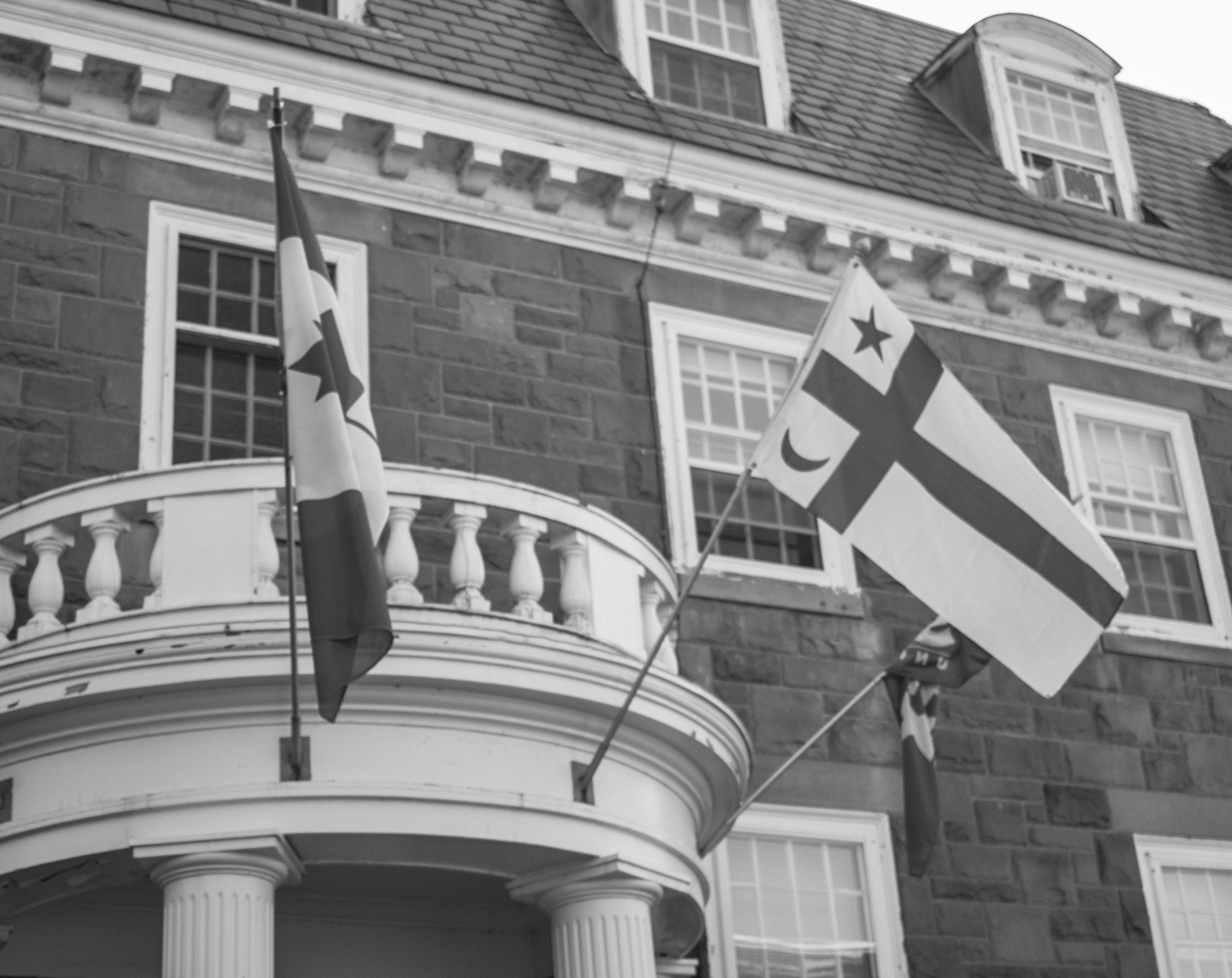 Mi'kmaq flag flying outside the President's office. Photo: Devon Chisholm.