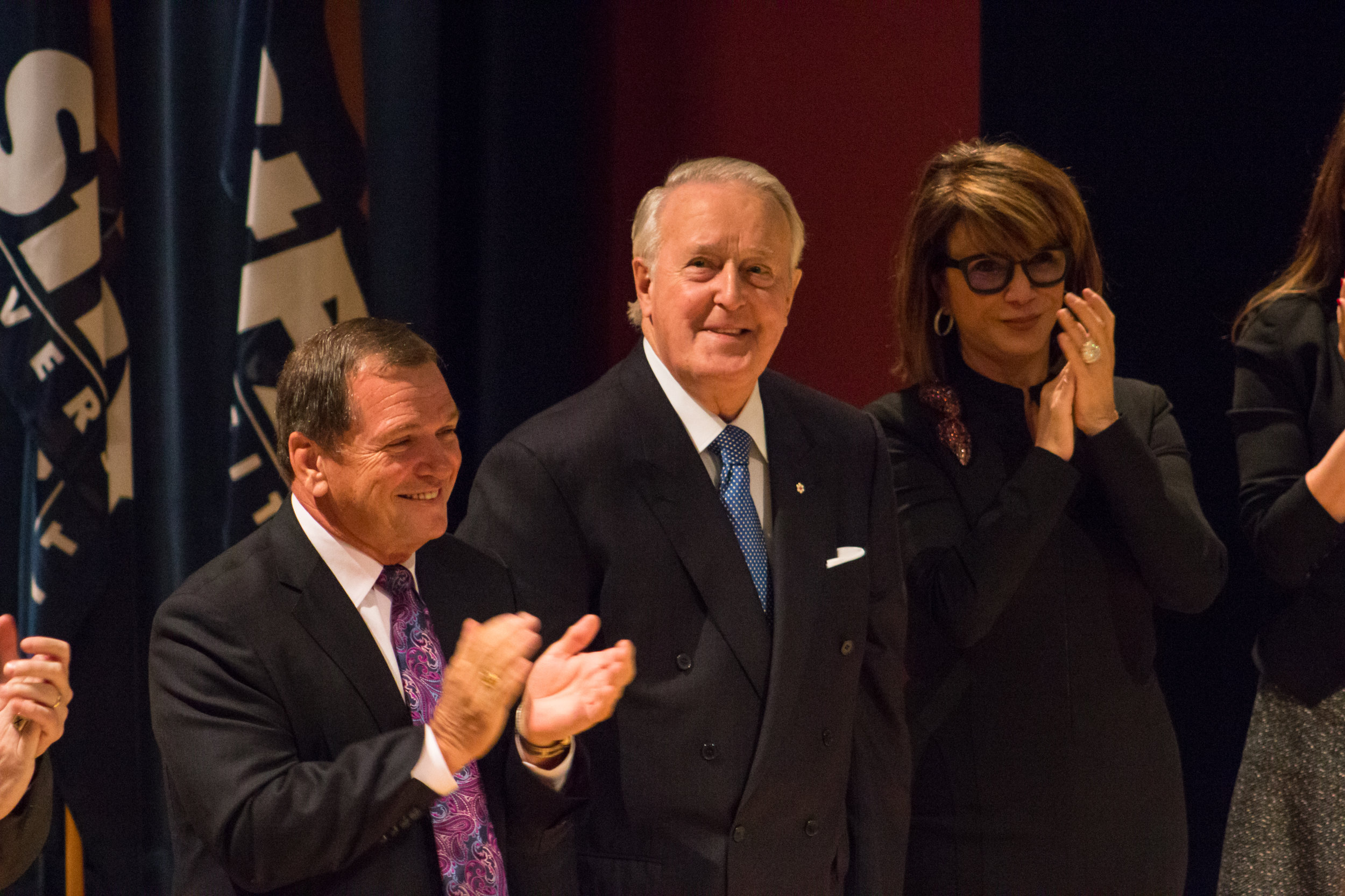 The Right Honourable Brian Mulroney, centre, with wife Mila Mulroney and Frank McKenna. Photo: Devon Chisholm.