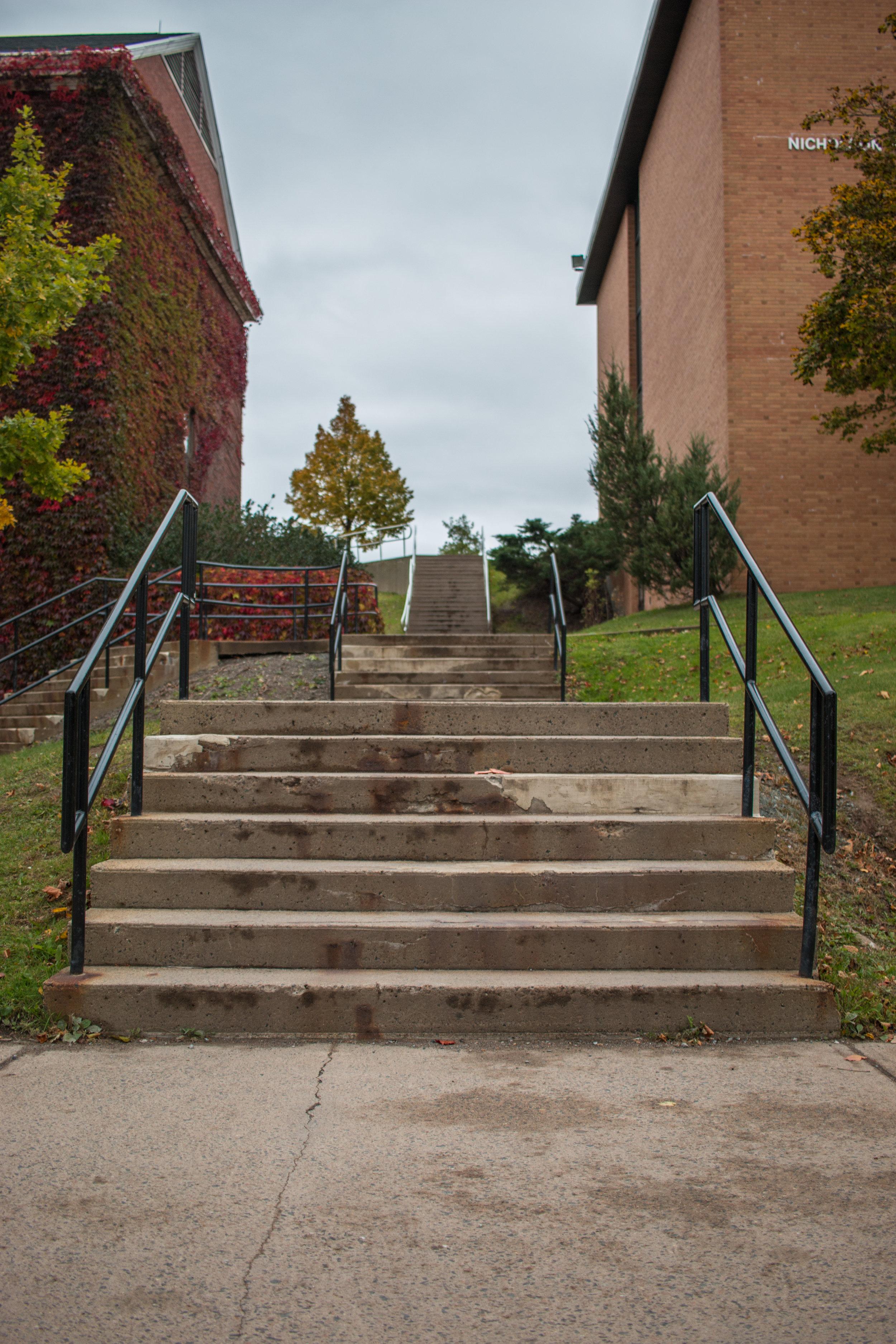 nicholson stairs separating upper and lower campus. photo: devon chisholm.