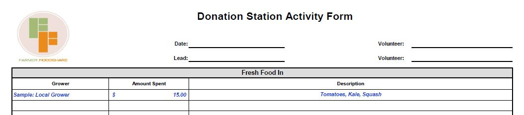 Top of an activity form. You will find activity forms in the Donation Station binder.
