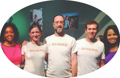"That's me: fourth from the left, sporting a Farmer Foodshare ""I Share"" t-shirt. Will you consider sharing too?"