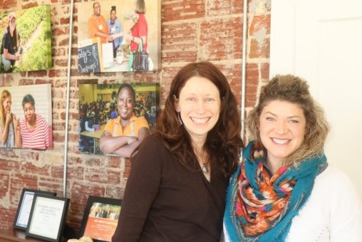 Kate Rugani, director of development and communications (left), and Whitney Sewell, community outreach and program manager (right), at the Farmer Foodshare office in Durham, NC.