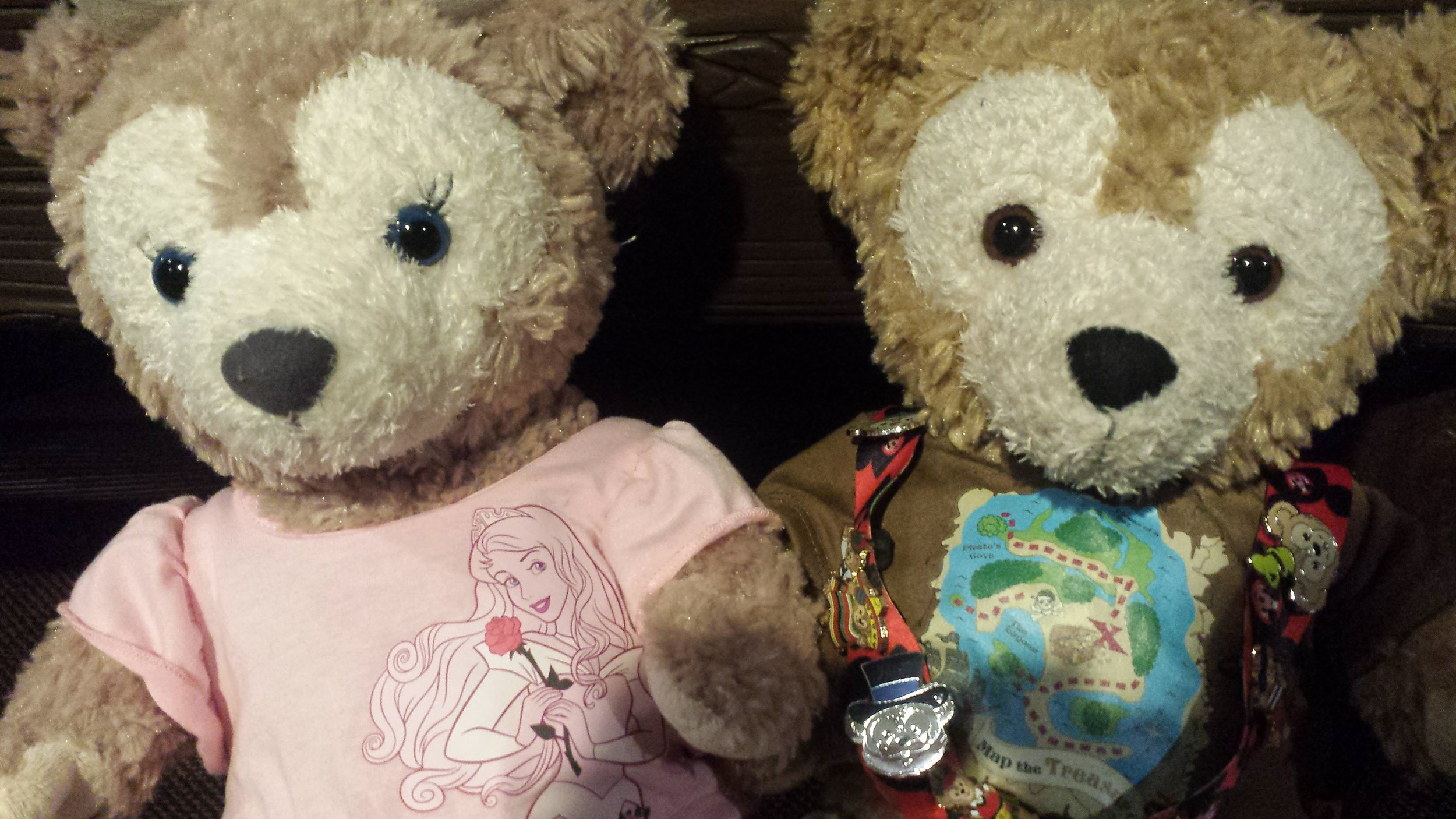 ShellieMay was in her Sleeping Beauty outfit, while Duffy had a treasure map on his t-shirt!