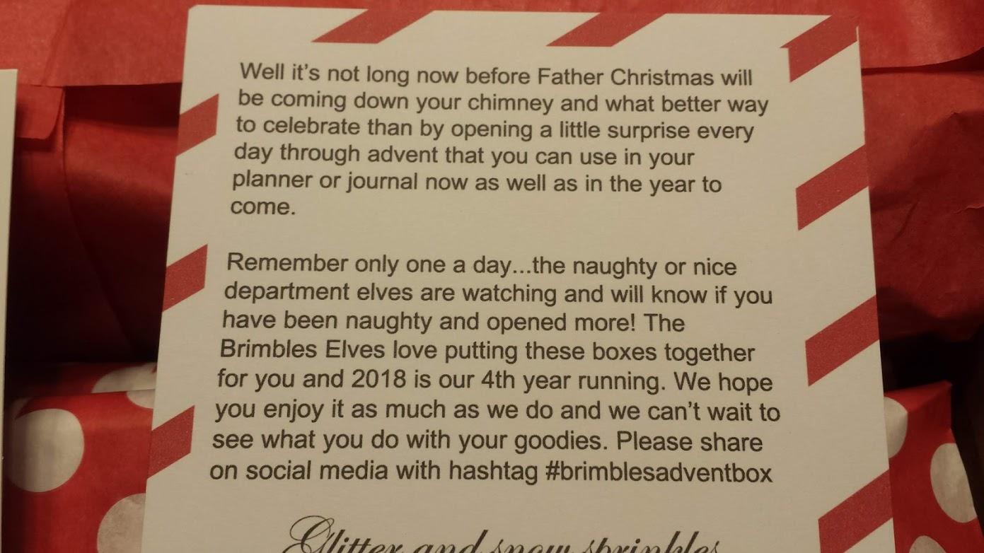 A short letter from Mrs. Brimble explaining the advent box.