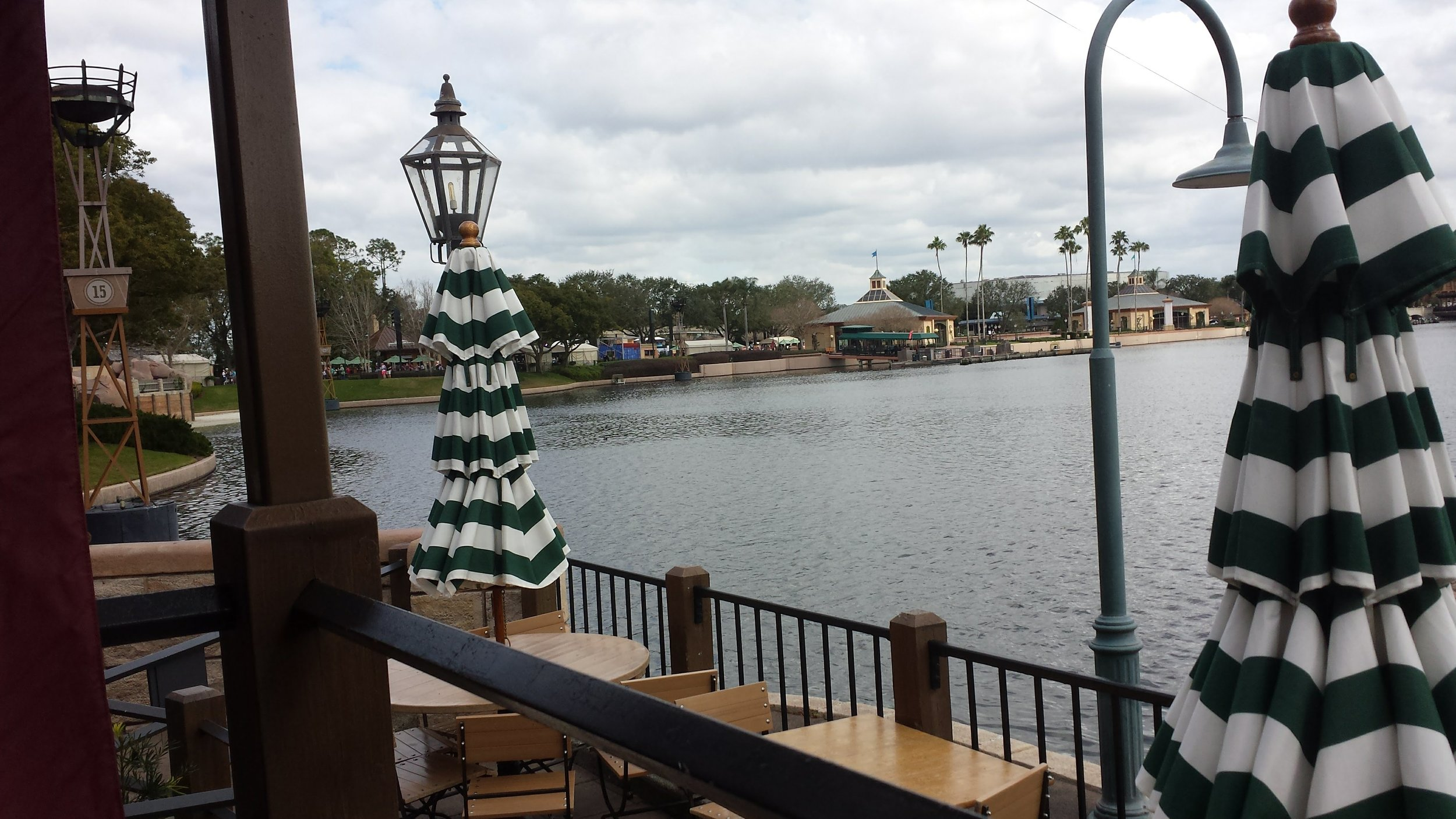 The view from outside the Rose & crown, a table service restaurant in epcot.