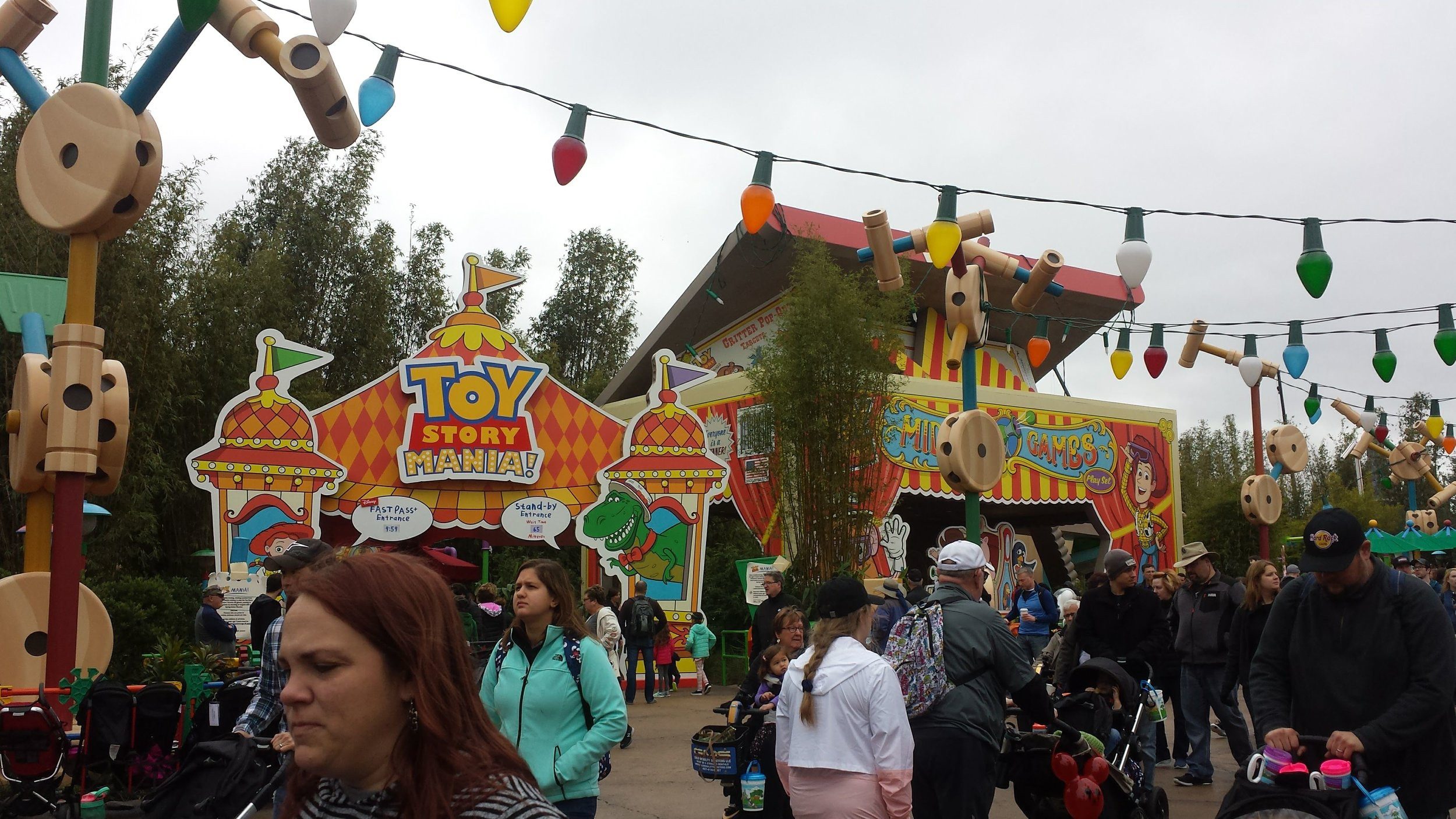 Toy story land in Disney's Hollywood studios in walt disney world on a cloudy day.