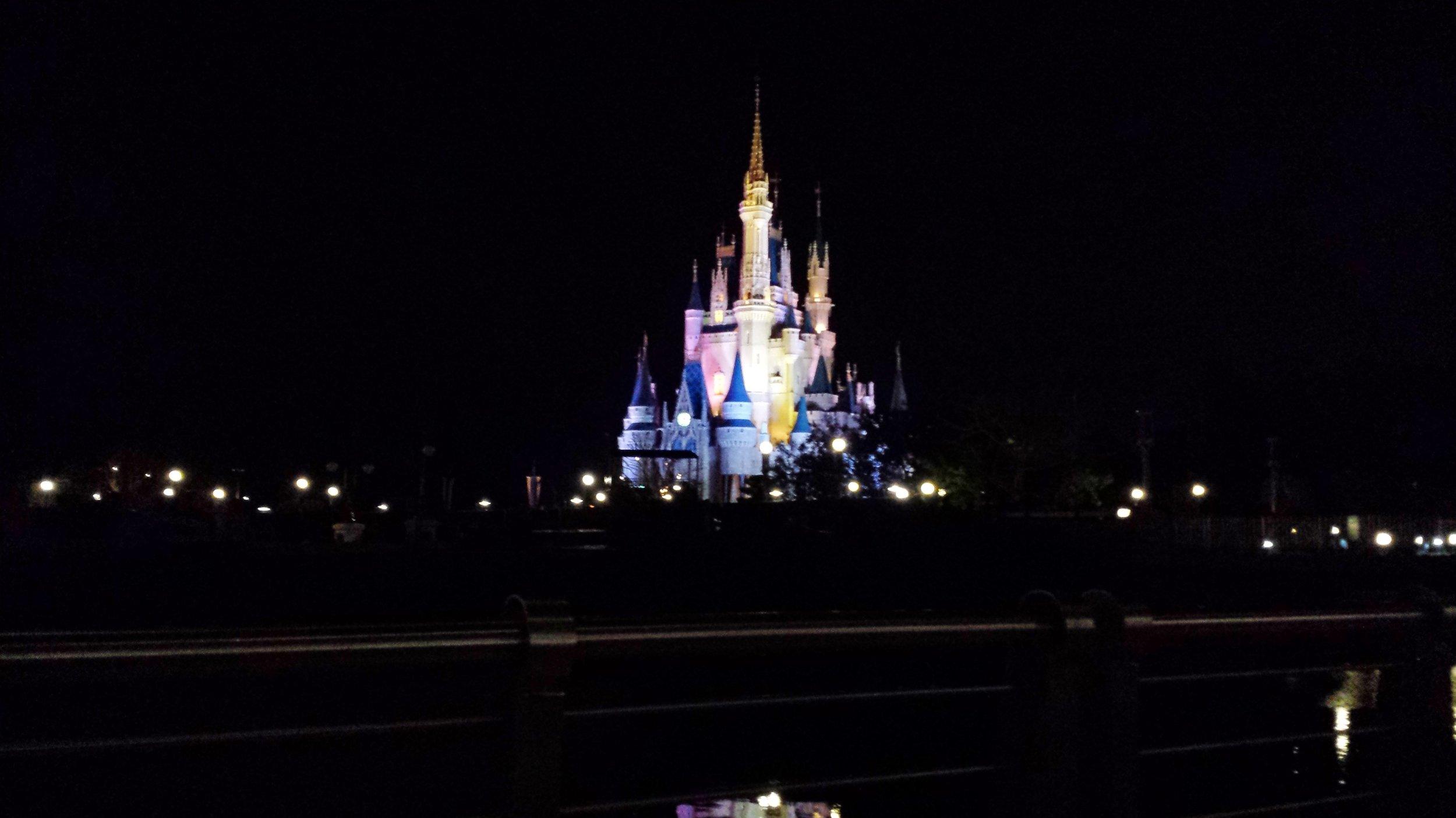 Cinderella's Castle in the Magic Kingdom at night.
