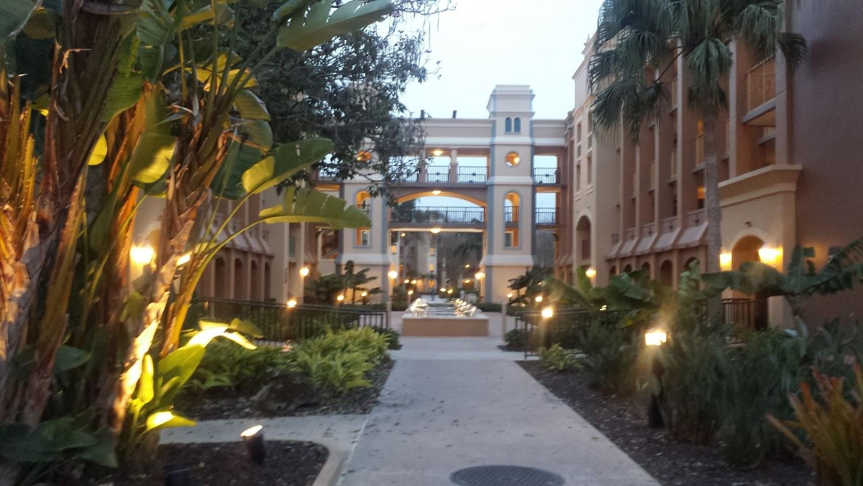 A courtyard area at Disney's Coronado Springs Resort.