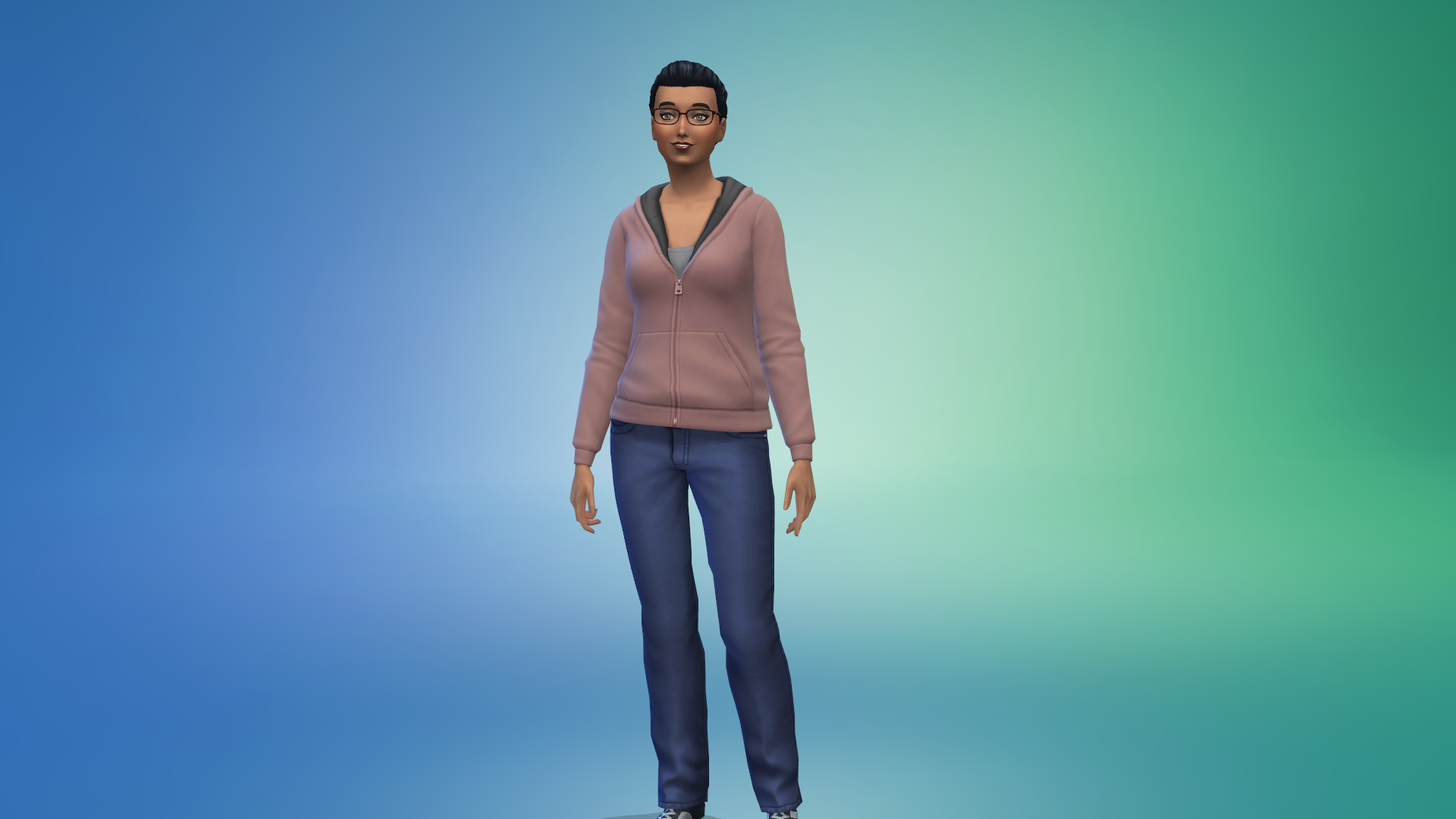 An adult Sim with dark hair and medium brown skin wearing a rose-colored sweatshirt and jeans.