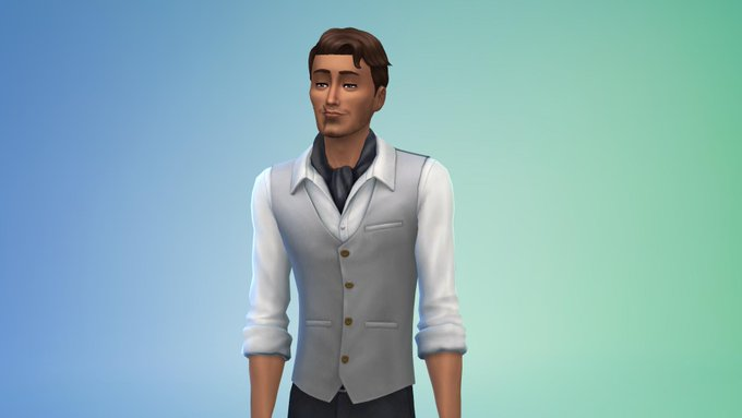 A smug looking gentleman with a slightly darker complexion dressed in a shirt and vest. He wears a scarf.