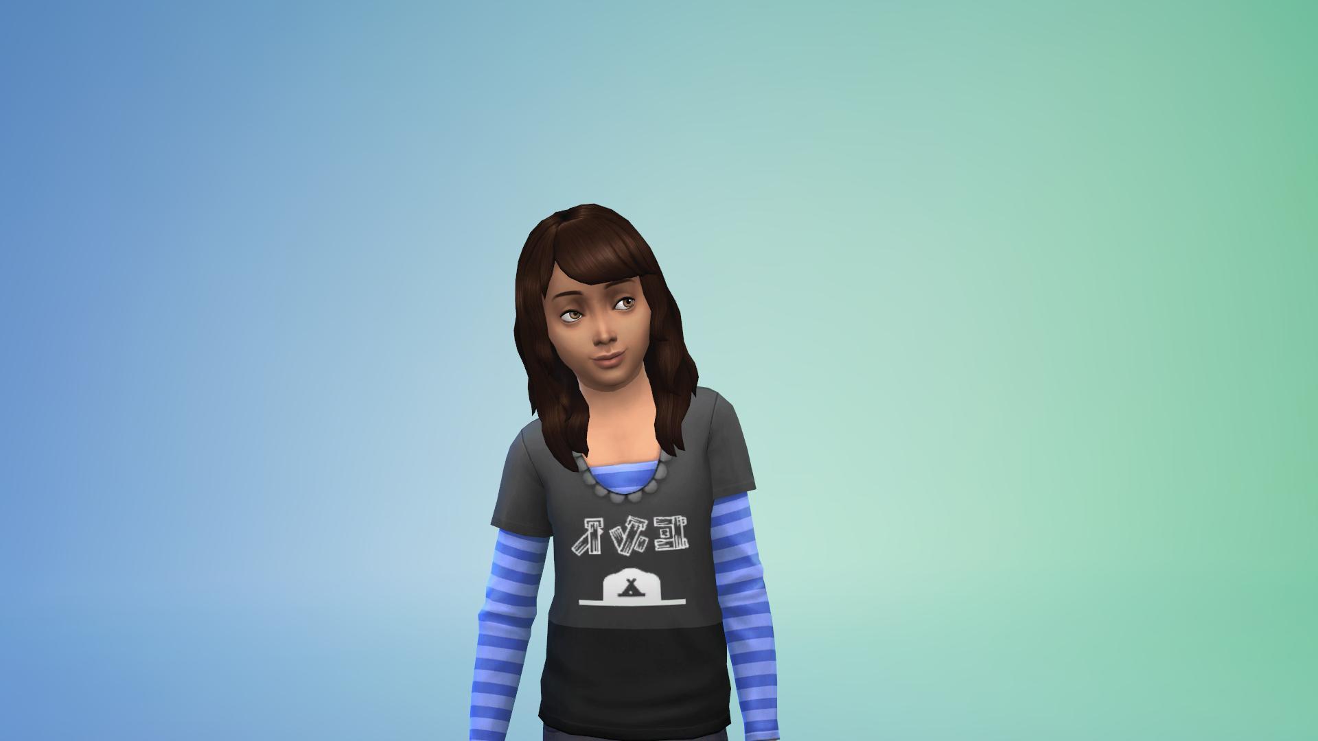A child Sim with dark brown hair and medium skin. She wears a black tee over a purple striped longsleeve tee.