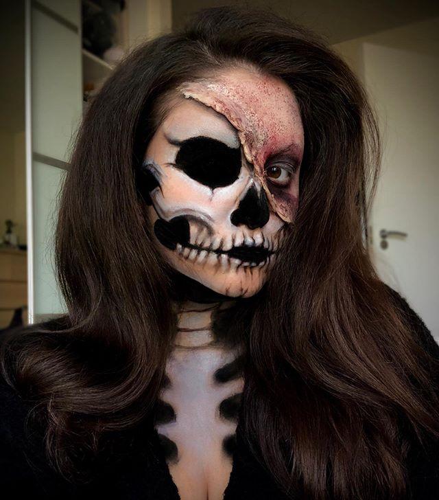 💀🖤 Using @inglotuk black gel liner  @nyxcosmetics_uk cream stick in milk  @bennyemakeup nose and scar wax and bruise wheel  #skull #skullmakeup #zombiemakeup #zombiemakeupideas #halloween #halloweensfx #halloweencostume #halloweenmakeup #halloweenmakeupideas #makeupartist #sfx #specialeffectsmakeup #specialeffects #noseandscarwax #bennye #manchestermakeupartist #makeupartistmanchester