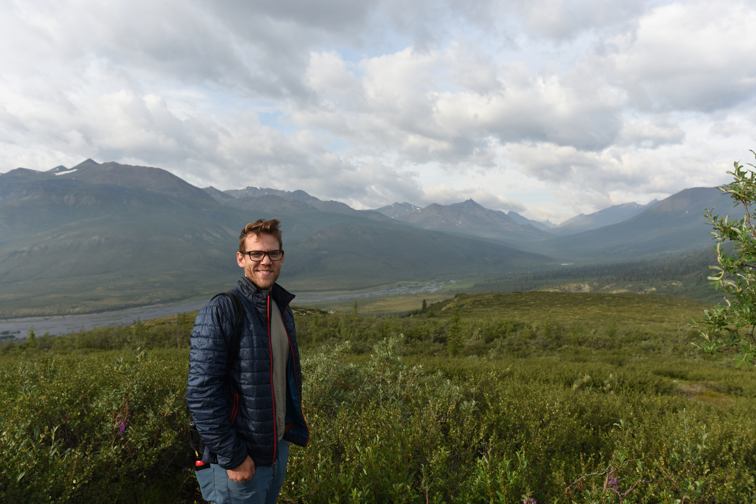 Michael at the viewpoint near the campground on the Dempster Highway
