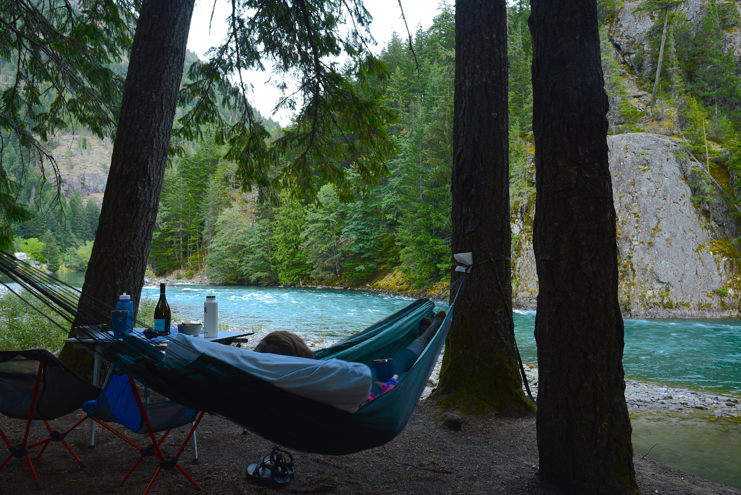 Hammock relaxation time at our campground in the North Cascades