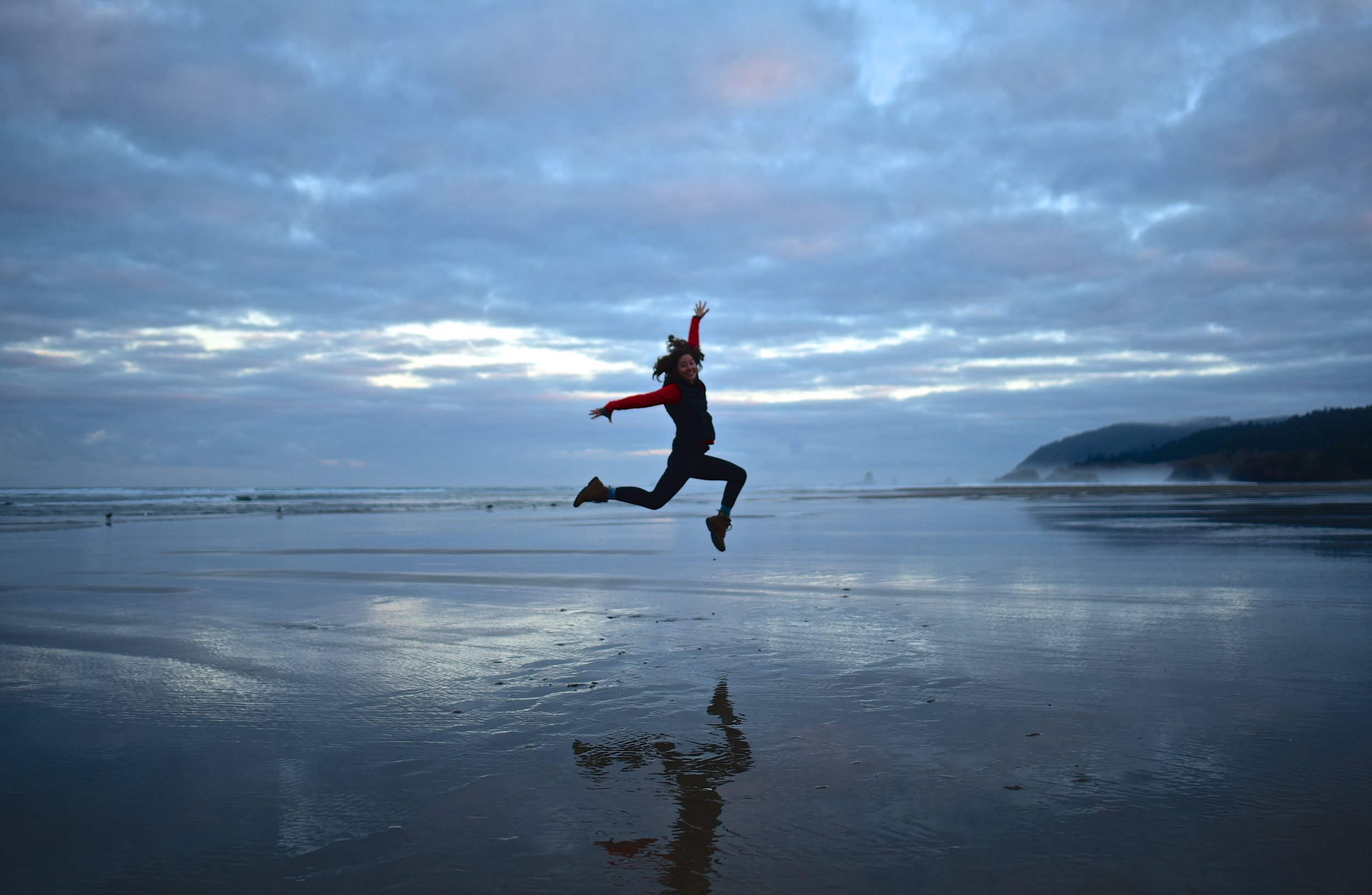 Jump pic at sunrise on Cannon Beach
