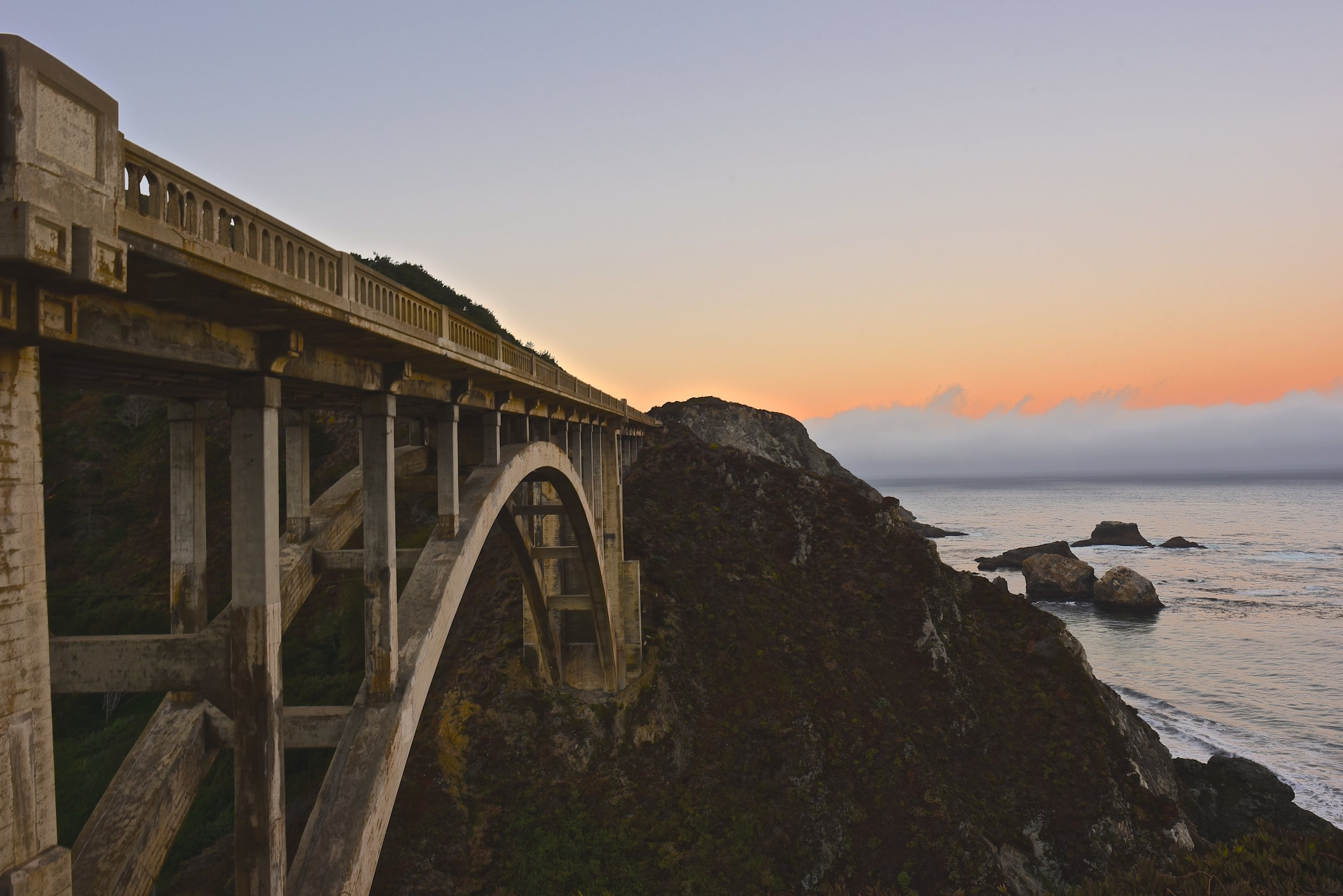 Rocky Creek Bridge at sunrise in Big Sur, California