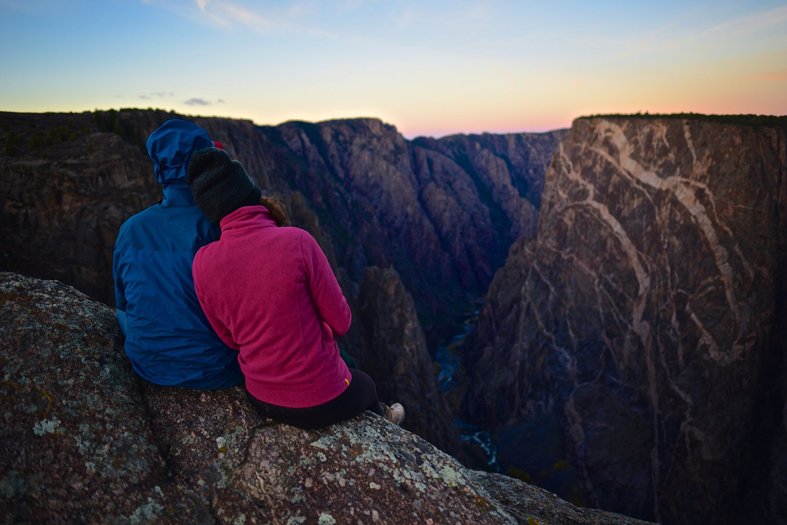 Watching the sunrise at the Painted Wall in Black Canyon of the Gunnison National Park