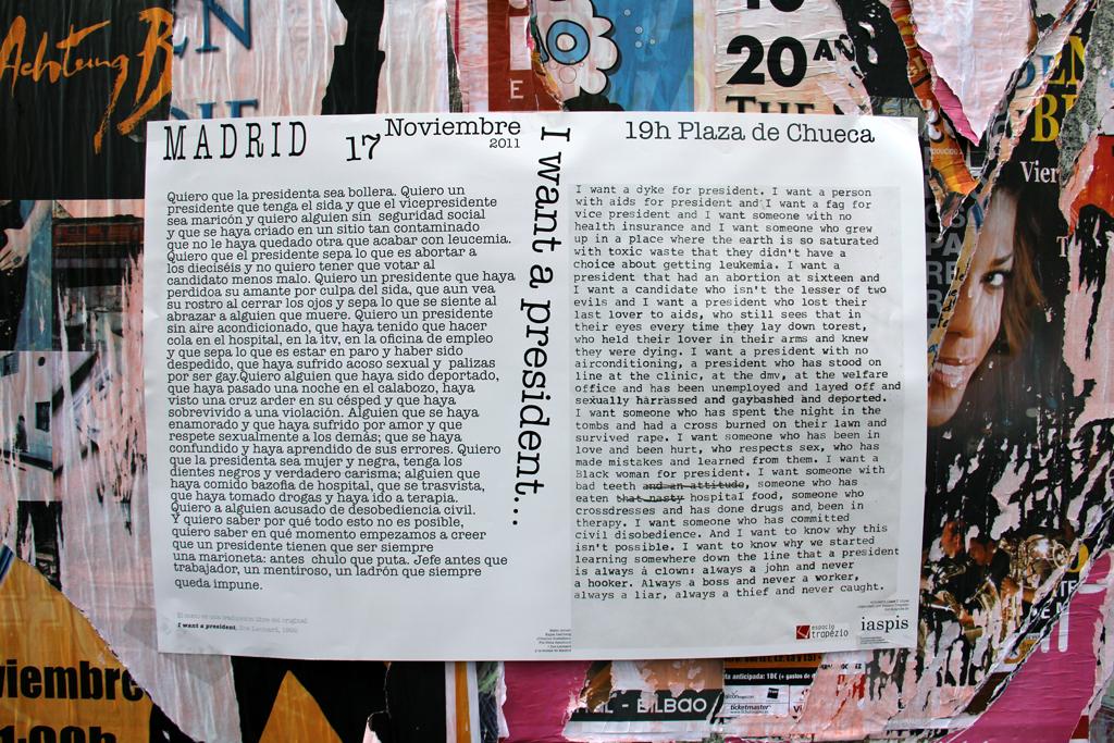 I want a president... A Collective Reading - Madrid, November 2011.  Photo: Lisa Nyberg