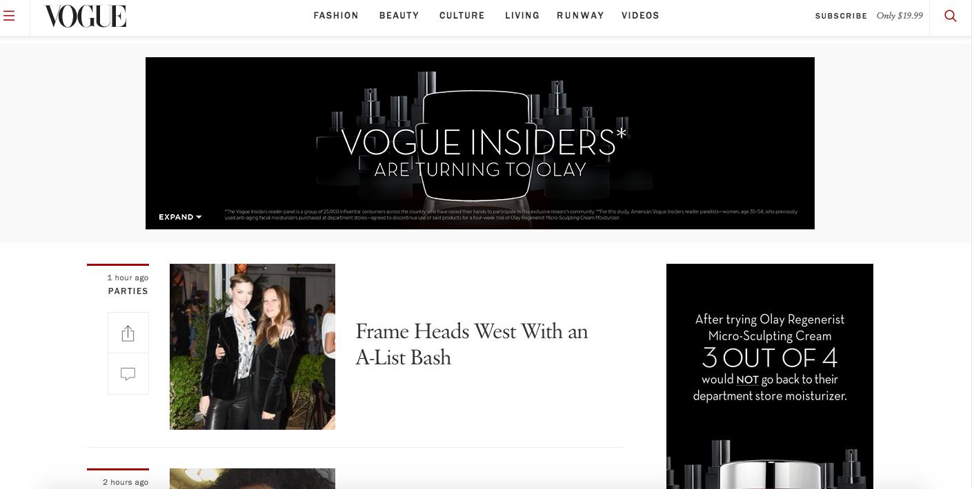 Display ad on Vogue