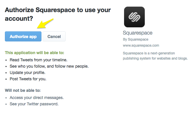 authorize social media account to connect to squarespace