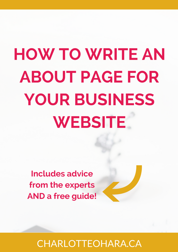 About page for business website
