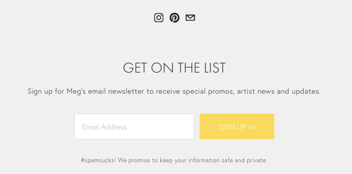 Email newsletter signup in pre-footer content