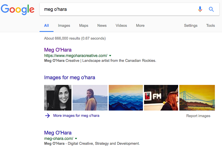 """Search results for """"Meg O'Hara"""" after website redesign project"""